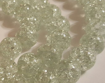 Crackle Glass Beads - 12mm Beads - 20 pcs. - Clear Beads - Light Mint Beads - Pale Green Beads