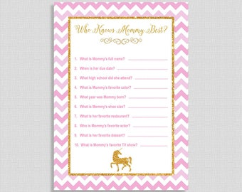 Who Knows Mommy Best Shower Game, Pink & Gold Glitter Unicorn Shower Activity, Baby Girl, DIY Printable, INSTANT DOWNLOAD