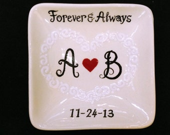 Engagement, Wedding gift - Personalized Hand Painted Ceramic Ring Dish, ring holder- Anniversary, Valentine's Day