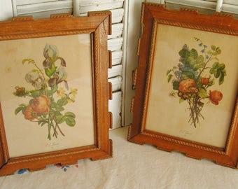 Vintage Pair Framed Cottage Chic Prevost Botanical Floral Prints Wall Art Decor Feminine Floral Prints