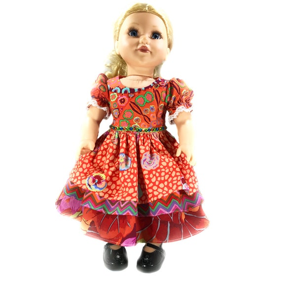 "Beautiful Party Dresses with 3-tiered Skirts and Sequin Waist Detail for American Girl and Other 18"" Dolls"
