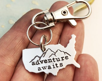 Adventure Awaits ~ Hand Stamped ~ USA ~ Wanderlust ~ Mountains Key Chain ~ Custom Keychain ~ Map ~ Geography ~ Long Distance ~ Free Spirit