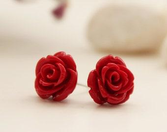 Rose Post Earrings. Lipstick Red. Gift For Her. Bridal Gift. Wedding (VER-01)