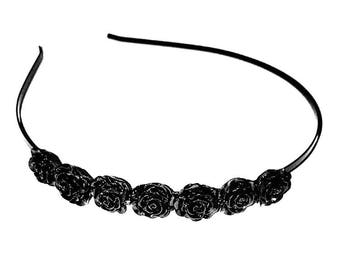 Black rose hairband, rose side tiara, gift for her, bridal hairband, wedding hair accessory, flower girl side tiara, bridal accessories