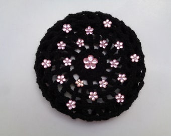 Medium Bun Cover with Pink Flower Rhinestones, Many Colors, Crochet Bun Cover, Bun Wrap, Bun Holder, Snood, Ballet