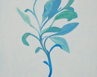 Salbei (beige), original Gemälde, Malerei, Küche Dekoration, Gewürz, Heilpflanze