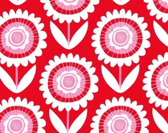 Fabric - Large Flowers on Red