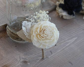 Babies Breath Boutonniere, Ivory Sola Boutonniere, Ivory Boutonniere, Cream Boutonniere, Groom's Boutonniere, Rustic Boutonniere