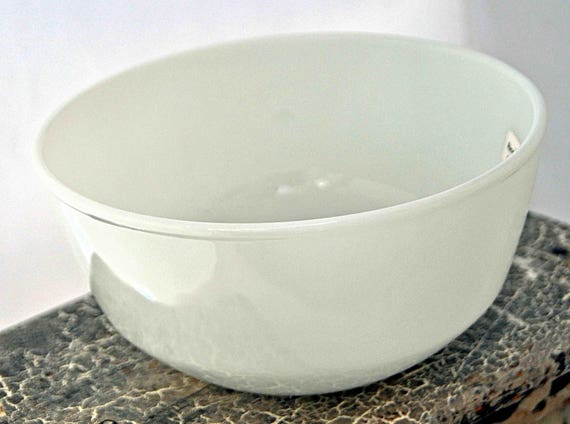 "Vintage Anchor Hocking 7  1/4"" White Fire King Ovenproof #22 Bowl about 3 1/2"" Tall Made in U S A Excellent Condition"
