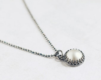 Creamy white Mabe PEARL oxidized sterling silver necklace, crown bezel setting