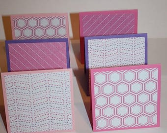 Set of 6 Mini Note Cards - Pink, Purple and White -  3X3