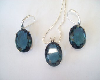 Save! London Blue Pendant and Earrings Set in Sterling Silver
