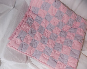 4' X 4' Flannel baby floor quilt - Light Pink and Lilac with butterfly quilting