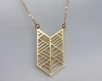 Gold Chevron Geometric Necklace, Geometry Necklace, Large Chevron Necklace, Gold Chevron Jewelry, Trendy Jewelry, Chevron Statement Necklace
