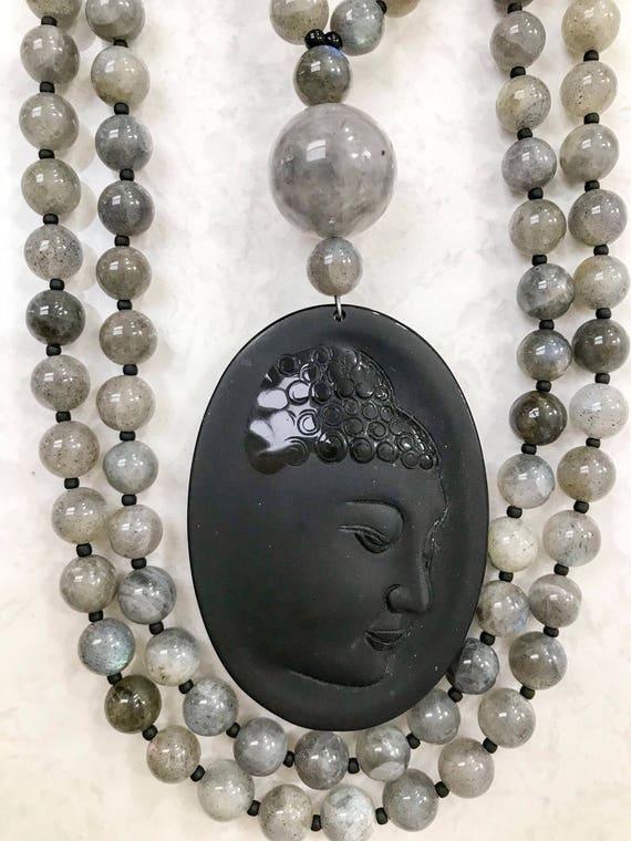 Labradorite and Obsidian Mala/Prayer Beads