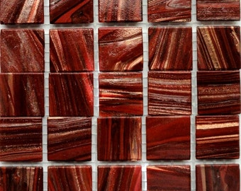 "20mm (3/4"") Oxblood Red and Gold Glass Mosaic Tiles//Mosaic Supplies//Crafts"