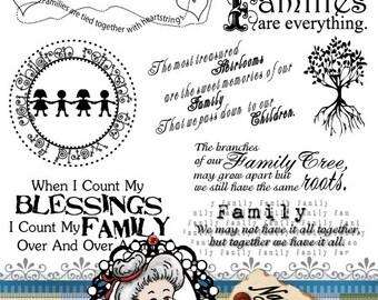 Family set 1 Word Art Sentiments Digital Stamp Digi Instant Download ID:NV-WA0013 By Nana Vic