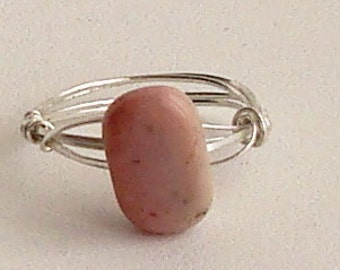 Pink Peruvian Opal Sterling Silver Wire Wrapped Ring