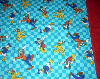 Disney - Mickey, Donald, Pluto, Goofy flannel cotton Pillowcase -  with red border  - Fits Standard and Queen size pillows