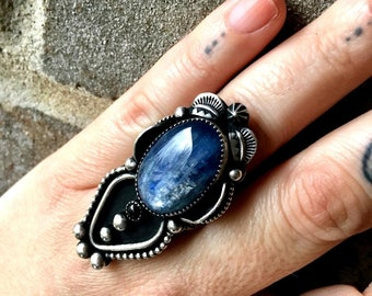 SALE -Rhiannon - Kyanite and Black Onyx Sterling and Fine Silver Handcrafted Ring - Size 8 - Boho - Bohemian - Gypsy - Witchy - Stevie Nicks