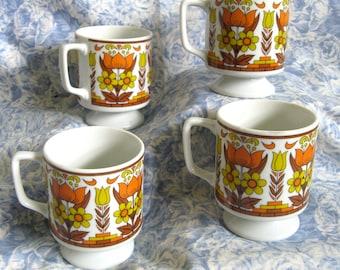 1970s Vintage Cups 4 Orange Yellow Floral Stacking Mugs Japan