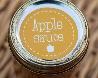 Apple sauce mason jar label - fits standard wide mouthed jar (2.5 inch diameter) | Apple sauce canning jar label