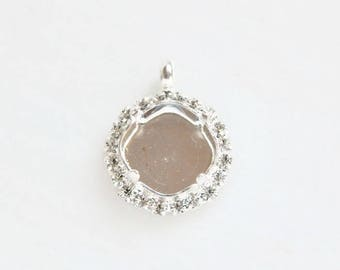 12x12mm Square pendant with bezel with clear rhinestones fits  Swarovski 4470