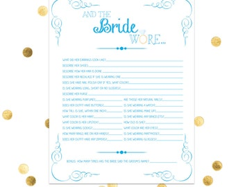 The Bride Wore - Bridal Shower Game - Bachelorette Party - Lingerie Shower - Funny Game Wedding Party Game INSTANT DOWNLOAD