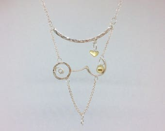 Sterling silver and 9 carat gold lady choker