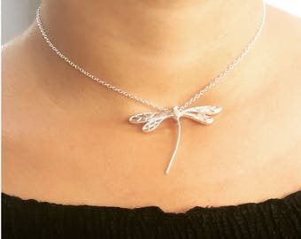 Silver Dragonfly Necklace / Dragon jewelry