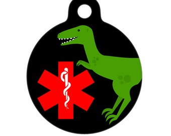Medical Id Tag - Dino Raptor Medical Alert Pet Tag, ID Tag, Child ID Tag, Dog ID Tag