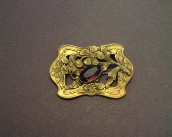Victorian Brass Brooch Sash Pin Art Nouveau Flowers and Purple Glass Gem