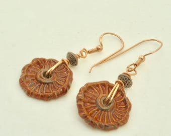 Reddish Brown Earrings, Textured Ceramic Geometric Dangles, Geometric Jewelry, Handmade Copper Earrings, Rustic Boho Earrings, Gift Under 25