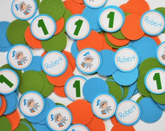 Knight Personalized Birthday Confetti in Blue Orange and Green Baby Shower Decoration