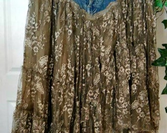 Belle Bohémienne bohemian jean skirt ruffled taupe lace funky frou frou Renaissance Denim Couture fairy goddess Made to Order