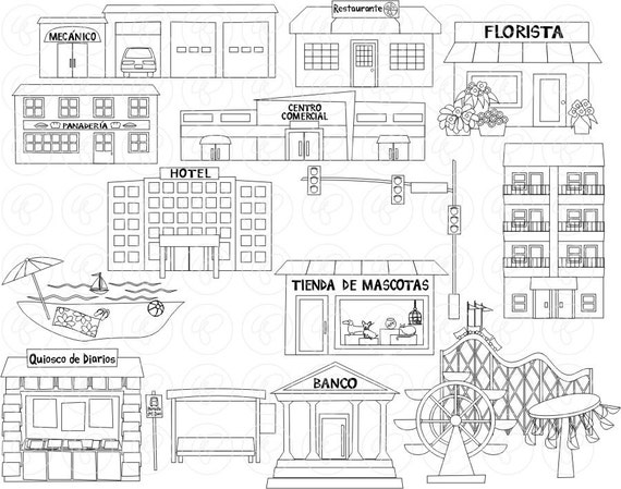 My Community Buildings (Set 02) IN SPANISH Clipart: (300