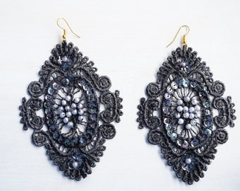Black Sequin and Beaded Lace Earrings