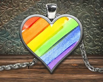 Gay pride rainbow heart pendant necklace support lgbt lgbtq