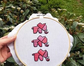 Embroidery / handmade / elephants / embroidery art / home decor