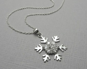 Snowflake Necklace, Sterling Silver and CZ Snowflake Pendant on Sterling Silver Necklace Chain, Winter Necklace, Bridesmaid Necklace
