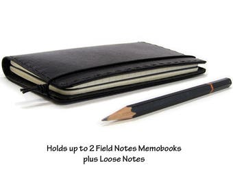 Black Leather Field Notes Cover - Can Hold Two 3.5 x 5.5 inch Field Notes Memobooks / Moleskine Cahier Notebooks