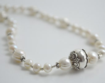 White Freshwater Pearl with Bali and Hill Tribe Sterling Silver Bead Necklace Bridal Formal Special Occasion