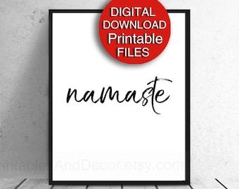 Printable Namaste Black and White Print, Zen, Meditation, Yoga Studio,  5x7 8x10 11x14 16x20 A3 A4