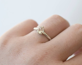 Rough Uncut Raw Diamond Ring Sterling Silver Engagement