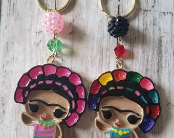 Hand painted resin Frida kahlo beaded keychain