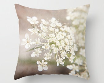 Throw Pillow Cover Queen Annes Lace White Lavender Floral Shabby Chic Cottage Photo Case Home Bedroom Bed Sofa Couch Decor