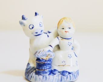 Porcelain Blue and White Dutch Girl & Cow Figurine, China , Delft Style