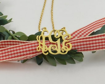 """Personalized monogram gold necklace,1"""" monogram jewelry,sterling silver plated gold,Custom monogram Gifts for women"""