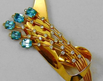 Vintage Signed Coro Sterling Vermeil Retro Brooch Pin with Aqua and Clear Rhinestones