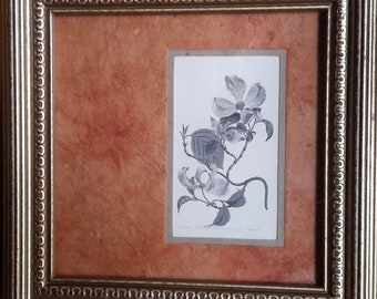 Black and White Dogwood on Parchment with Orange Parchment Matting and Gold Frame